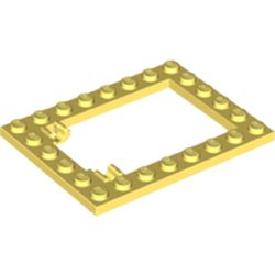 LEGO part 92107 Plate Special 6 x 8 Trap Door Frame Horizontal [Long Pin Holders] in Cool Yellow/ Bright Light Yellow