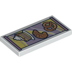 LEGO part 87079pr0232 Tile 2 x 4 with Pastries print in White