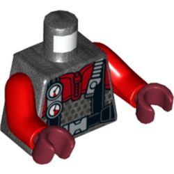 LEGO part 76382 Torso Wetsuit with Black Straps and Gauges Print, Red Arms, Dark Red Hands in Titanium Metallic/ Pearl Dark Gray