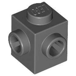 LEGO part 26604 Brick Special 1 x 1 with Studs on 2 Adjacent Sides in Dark Stone Grey / Dark Bluish Gray