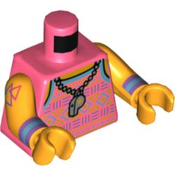 LEGO part 973c38h38pr5415 Torso Vest with Dark Purple, Azure, and Lime Design, Necklace with Whistle Print, Bright Light Orange Arms and Hands in Vibrant Coral/ Coral