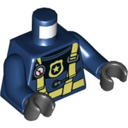 LEGO part 76382 Torso Wetsuit with Bright Light Yellow Straps, Gauge, and Police Badge Print, Dark Blue Arms, Black Hands in Earth Blue/ Dark Blue