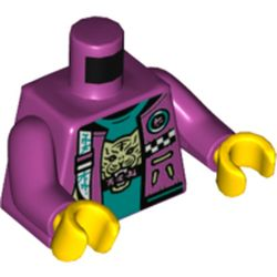 LEGO part 973c37h01pr5423 Torso Jacket, Open over Dark Turquoise Undershirt with Tiget Head Print, Magenta Arms, Yellow Hands in Bright Reddish Violet/ Magenta