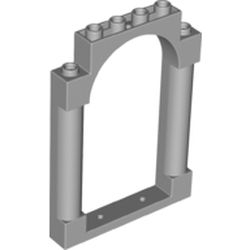 LEGO part 40066 Panel 1 x 6 x 7 with 2 Columns and Arch in Medium Stone Grey/ Light Bluish Gray