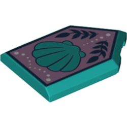 LEGO part 75718 Tile Special 2 x 3 Pentagonal with Shell on Lavender Background Print in Bright Bluish Green/ Dark Turquoise