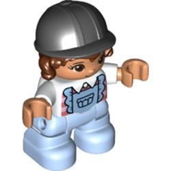 LEGO part 69713pr0050 Duplo Figure Child with Hair and Riding Helmet Black, Bright Light Blue Legs, Frilly Shirt Print in White