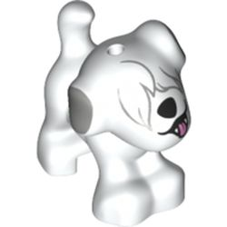 LEGO part 75739 Animal, Dog, Small Standing with Fur Over Eyes, High Black Nose, Open Mouth, and Light Bluish Gray Ears Print in White