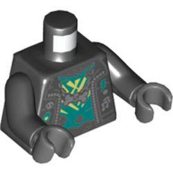 LEGO part 973c03h12pr5425 Torso Jacket, Open over Dark Turquoise Undershirt, Necklace with Bone Print, Black Arms, Dark Bluish Gray Hands in Black