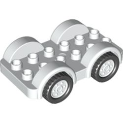 LEGO part 35026 Duplo Car Base 2 x 6, and Wheels with Black Tires on 2 Fixed Axles in White