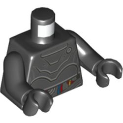LEGO part 76382 Torso Droid with Plates and Red, Blue, and Yellow Wires Print, Black Arms and Hands in Black