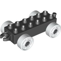 LEGO part 14639 Duplo Car Base 2 x 6 with Open Hitch End and White Wheels with Fake Bolts in Black