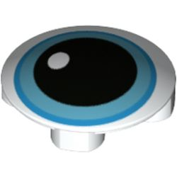 LEGO part 75813 Plate Round 2 x 2 with Rounded Bottom [Boat Stud] with Blue Eye, Black Pupil print in White
