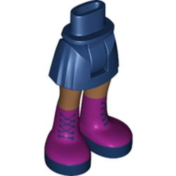 LEGO part  Minidoll Hips and Short Skirt with Medium Dark Flesh Legs and Dark Purple Boots with Dark Blue Laces Print in Earth Blue/ Dark Blue