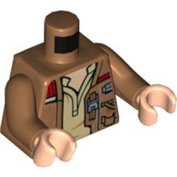 LEGO part 973c23h02pr9953 Torso Jacket Open over Tan Shirt Print, Medium Dark Flesh Arms, Light Flesh Hands in Medium Nougat