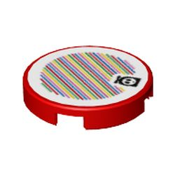 LEGO part 76035 Tile Round 2 x 2 with Bottom Stud Holder and Fly Guy and Barcode Print (Sticker) in Bright Red/ Red