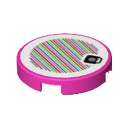 LEGO part 76156 Tile Round 2 x 2 with Bottom Stud Holder and Mushroom and Barcode Print (Sticker) in Bright Purple/ Dark Pink
