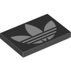 LEGO part 26603pr0053 Tile 2 x 3 with White adidas Logo Print in Black