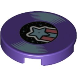 LEGO part 14769pr1178 Tile Round 2 x 2 with Bottom Stud Holder with Record with Azure Shooting Star Print in Medium Lilac/ Dark Purple