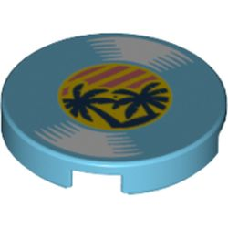 LEGO part 14769pr1179 Tile Round 2 x 2 with Bottom Stud Holder and Record with Palm Trees Print in Medium Azure