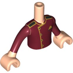 LEGO part  Minidoll Torso Boy with Light Flesh Arms and Hands with Dark Red Usher Jacket, Gold Trim print in Dark Red