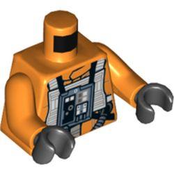 LEGO part 76382 Torso Rebel Pilot with White Flight Suit Print, Orange Arms, Black Hands in Bright Orange/ Orange