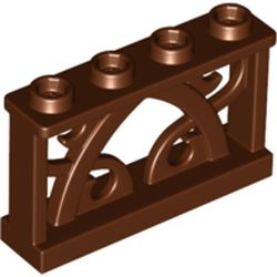 LEGO part 19121 Fence Ornamented 1 x 4 x 2 with 4 Studs in Reddish Brown