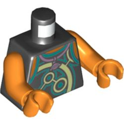 LEGO part 973c34h34pr5438 Torso Vest with Yellowish-Green and Dark Turquoise Circles, Necklace with Saturn Print, Orange Arms and Hands in Black