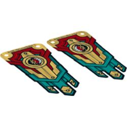 LEGO part upn0458 Banner, Gold Red and Dark Turquoise, Lion Guardian [Complete Sheet] in none