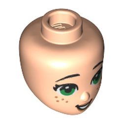 LEGO part 76807 Minidoll Head with Green Eyes, Freckles, Peach Lips print in Light Nougat