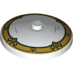 LEGO part 3960pr9972 Dish 4 x 4 Inverted [Radar] with Gold Edge, and Scuff Marks Print in White