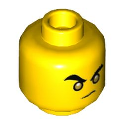 LEGO part 3626cpr3435 Minifig Head Monkie Kid, Gold Eyes / Open Mouth Print in Bright Yellow/ Yellow