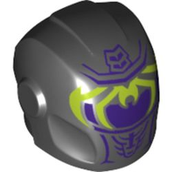 LEGO part 29050pr0341 Minifig Helmet with Armor Plates and Ear Protectors with Dark Purple Visor and Lime Spider Legs Print in Black