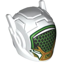 LEGO part 46534pr0340 Minifig Helmet with Antennae and Headphones and Black Visor with Green Honeycomb, Gold/Green Decorations Print (Mei) in White