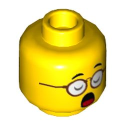 LEGO part 3626cpr3417 Minifig Head Mr Tang, Red Glasses, Eyes Closed with Open Mouth / Eyes Open with Closed Mouth Print in Bright Yellow/ Yellow