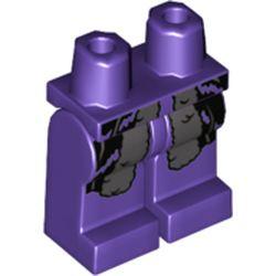 LEGO part 970c00pr2050 Legs and Hips with Dark Bluish Gray and Black Fur Coat End Print in Medium Lilac/ Dark Purple