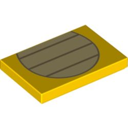 LEGO part 76883 Tile 2 x 3 with Tan Stripes in Oval Print (Koopa Stomach) in Bright Yellow/ Yellow