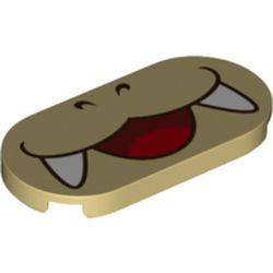 LEGO part 76884 Tile Round 2 x 4 with Smiling Mouth with Fangs (Iggy Koopa) Print in Brick Yellow/ Tan