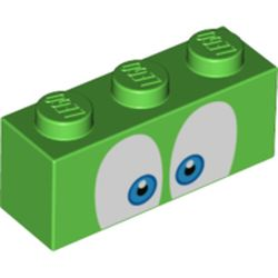LEGO part 76885 Brick 1 x 3 with Eyes with Blue Iris' Print in Bright Green