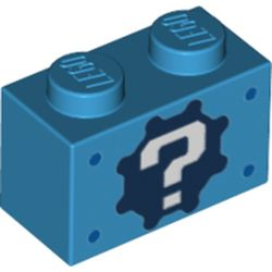 LEGO part 76886 Brick 1 x 2 with '?' on Gear Background and Blue Spots Print in Dark Azure