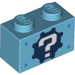 LEGO part 76887 Brick 1 x 2 with '?' on Gear Background and Dark Azure Spots Print in Medium Azure