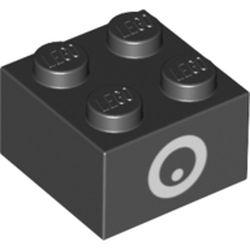 LEGO part 76889 Brick 2 x 2 with Eye Print (Chain Chomp) in Black
