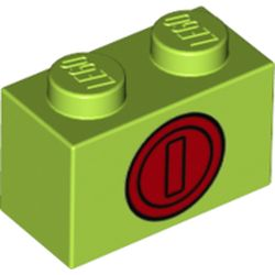 LEGO part 76892 Brick 1 x 2 with Red Coin Print in Bright Yellowish Green/ Lime