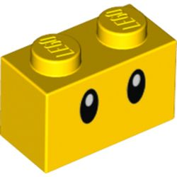LEGO part 76893 Brick 1 x 2 with Oval Eyes Print in Bright Yellow/ Yellow