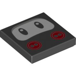 LEGO part 76896 Tile 2 x 2 with Groove and Eyes and Red Buttons Print (Ninji Face) in Black