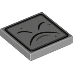 LEGO part 76897 Tile 2 x 2 with Groove and Black Curved Lines and Border Print (Thwimp Face) in Medium Stone Grey/ Light Bluish Gray