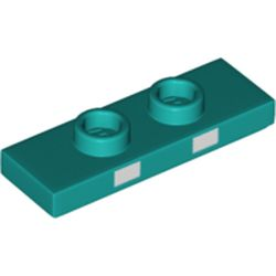 LEGO part 76901 Plate Special 1 x 3 with 2 Studs with Groove and Inside Stud Holder (Jumper) with 2 White Squares on Side Print in Bright Bluish Green/ Dark Turquoise