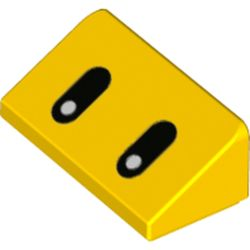 LEGO part 76903 Slope 30° 1 x 2 x 2/3 with Oval Black Eyes Print in Bright Yellow/ Yellow
