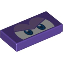 LEGO part 76904 Tile 1 x 2 with Groove and Angry Blue Eyes (Spiny Cheep Cheep) Print in Medium Lilac/ Dark Purple
