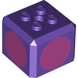 LEGO part 76907 Brick Special Cube with 2 x 2 Studs on Top, and Dark Pink Circles Print in Medium Lilac/ Dark Purple