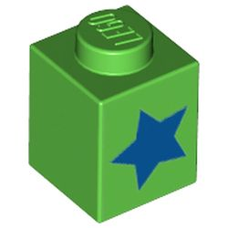 LEGO part 76908 Brick 1 x 1 with Blue Star Print in Bright Green
